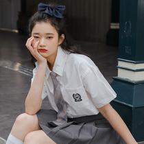 白色衬衫女装新款2021年夏季领带jk日系短袖衬衣学院风宽松上衣