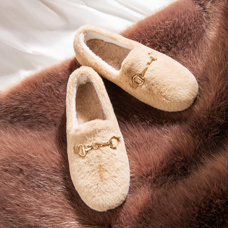 老北京毛毛鞋女冬外穿2019新款网红一脚蹬孕妇鞋子加厚加绒豆豆鞋