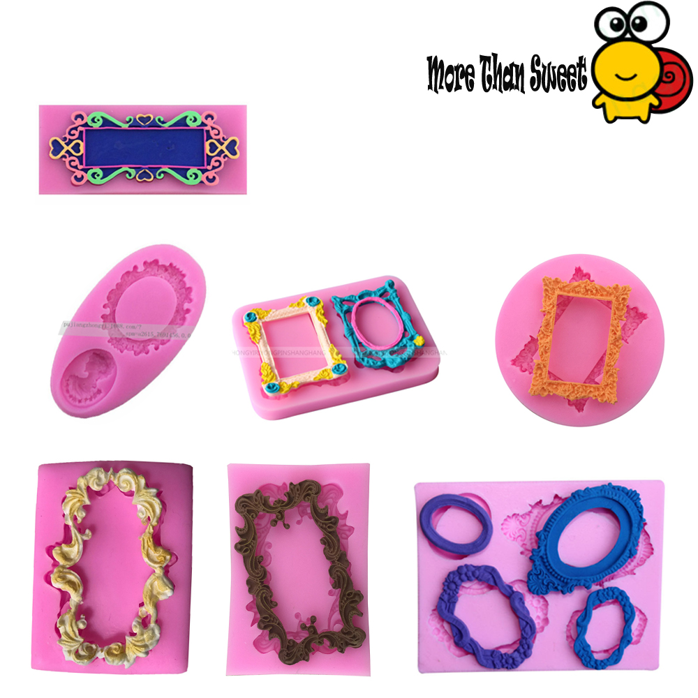 European style retro relief photo frame, picture frame garland, silicone sugar cake mold, chocolate drop decoration tool
