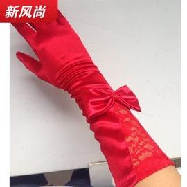 新娘红色手套冬季婚纱手套结婚缎面蝴蝶结婚纱礼服短款绸缎手套