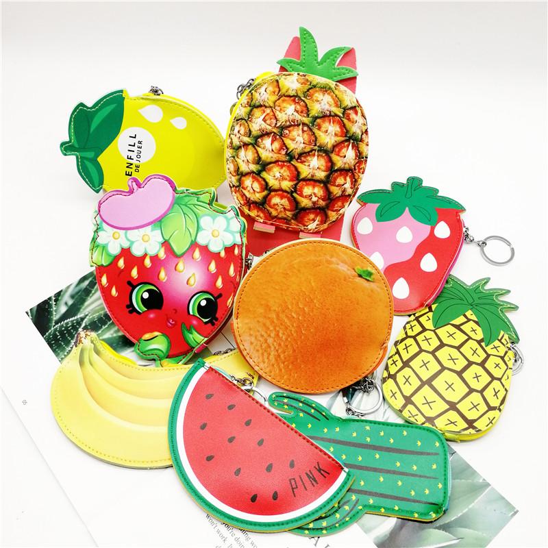 创意可爱水果零钱包卡通印花PU皮革硬币包新款儿童钥匙扣收纳小包