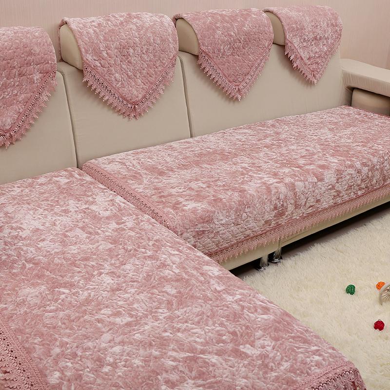 防滑金丝绒冬季毛绒沙发垫布艺坐垫子简约现代皮沙发套巾四季通用