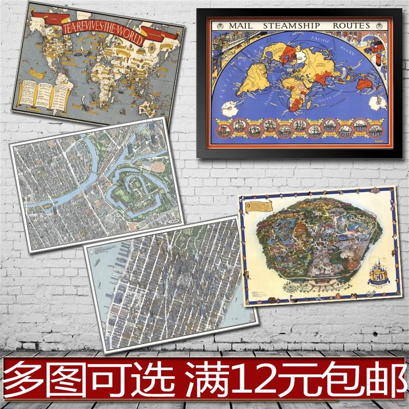 航海美食娱乐世界各类地图贴画海报