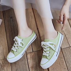半托帆布鞋女網紅2020新款韓版小雛菊可愛甜美百搭平底外穿半拖鞋