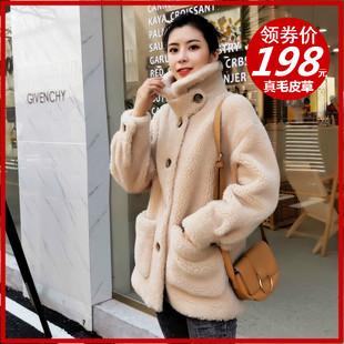 海宁皮草反季颗粒羊剪绒大衣女安娜款皮毛一体羊绒羔毛外套短款女价格
