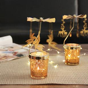 ins欧式走马灯旋转蜡烛台美式简约现代少女铁艺玻璃烛光晚餐道具