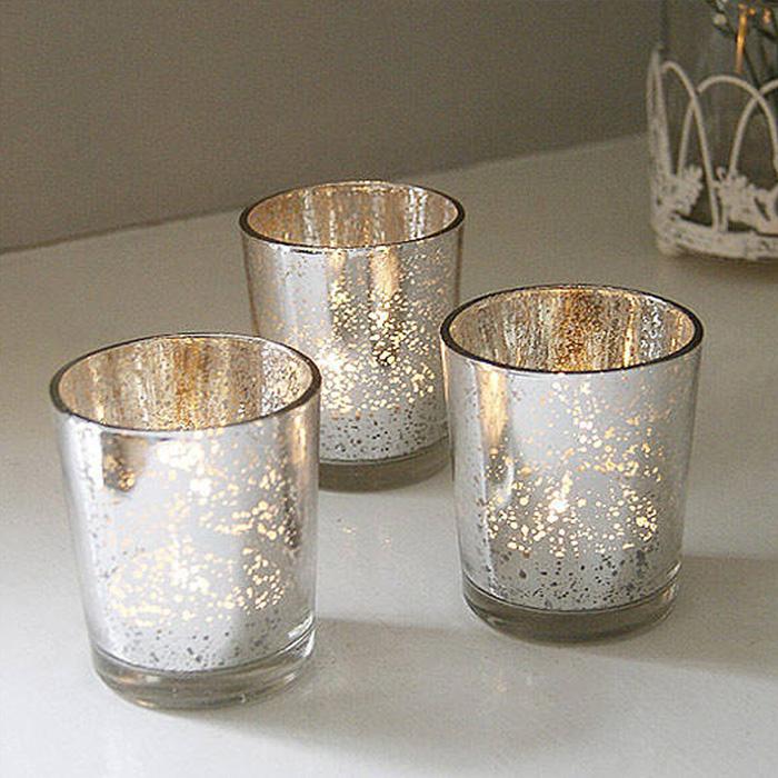 简约电镀银玻璃小烛台彩色蜡烛杯浪漫圣诞烛光晚餐酒吧西餐厅摆件