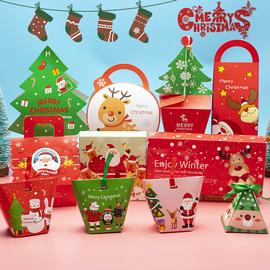圣诞节包装苹果盒 老人树雪人 饼干食品点心糖果派对包装手提纸盒图片