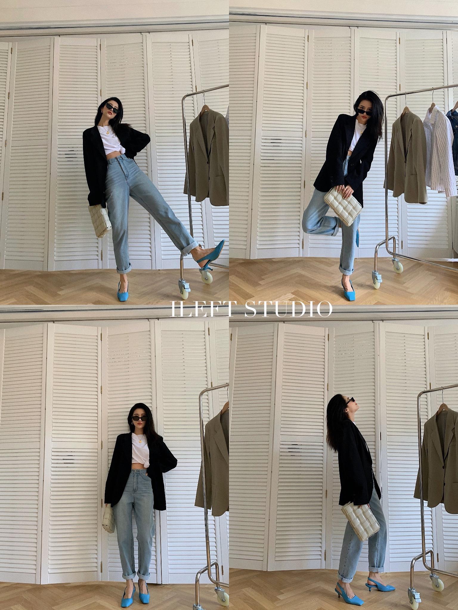 左边女装2020秋装新款长款裤子高腰休闲气质直筒蓝色牛仔裤修身女