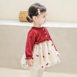 女宝宝周岁礼服公主裙春秋衣服1一3岁婴儿秋装连衣裙女童加绒裙子