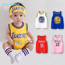 婴儿连体衣夏装纯棉宝宝无袖背心薄款篮球服新生儿运动服夏爬服潮