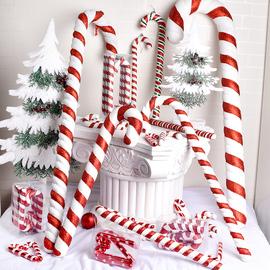 圣诞节装饰红白拐杖15cm至90CM彩绘拐杖广场影楼喜庆节日用品道具图片