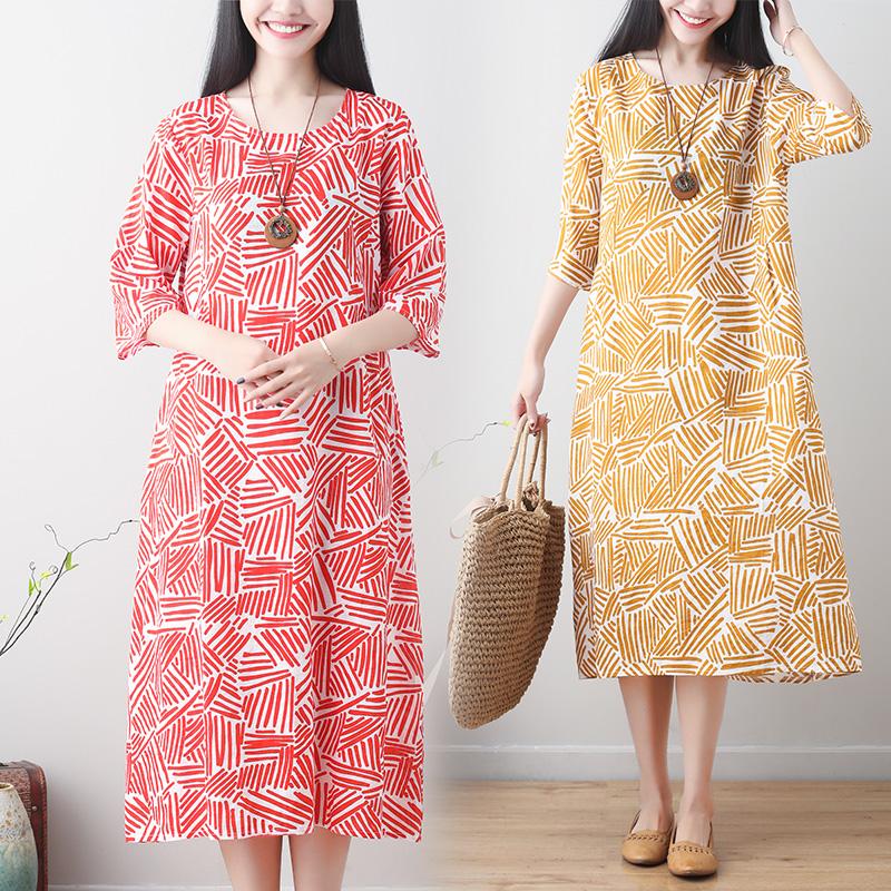 夏季文艺气质苎麻料短袖连衣裙2020小糖果色时尚印花长裙子中长裙