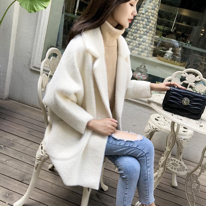 仿水貂绒毛衣女2018秋冬新款针织开衫宽松显瘦很仙的米白洋气外套