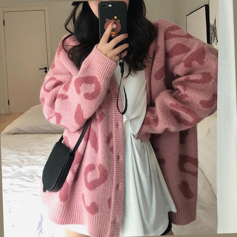 粉色豹纹宽松外穿秋冬季中长款毛衣