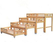 Kindergarten Pinus camphor wooden four-storey push pull bed children 4 people through the bed Early Education Center baby nap Bed