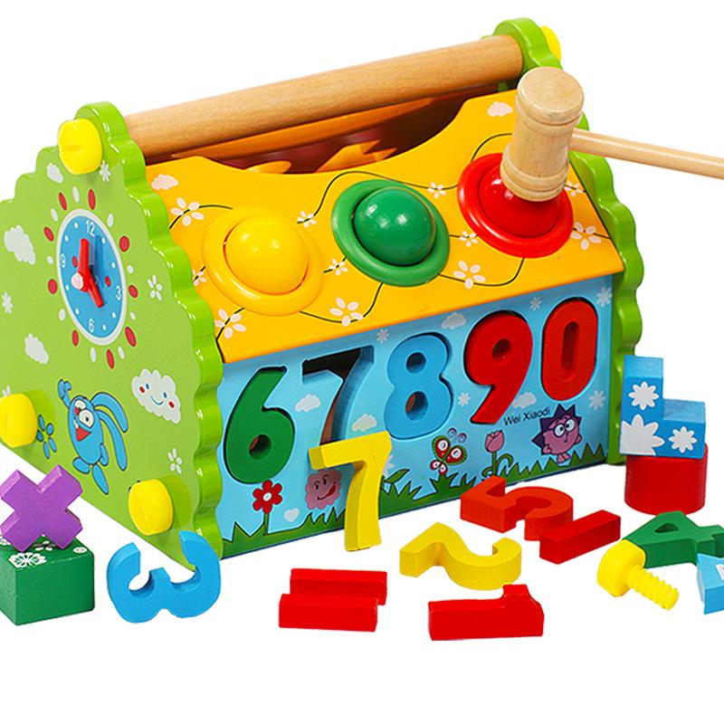 宝宝早教玩具1-3三周岁2-4开发益智力启蒙男孩女幼儿童木制质积木