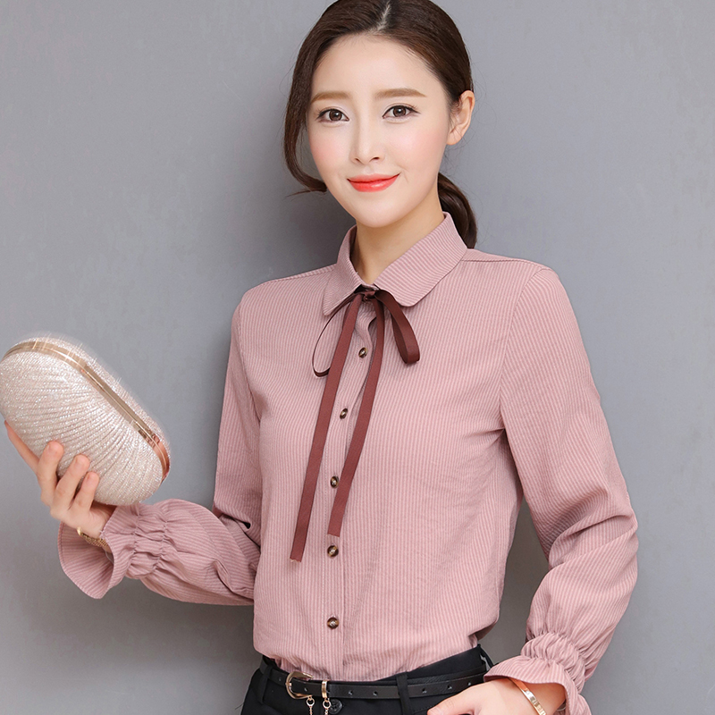 Striped long sleeve shirt womens 2019 new autumn and winter clothing Korean series trumpet sleeve top shows thin and versatile chiffon shirt