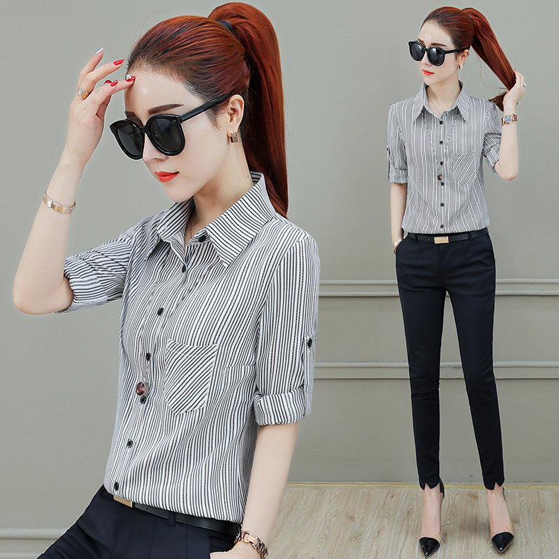 Medium length striped shirt womens long sleeve 2019 new autumn and winter clothes Korean chiffon shirt looks thin and versatile top