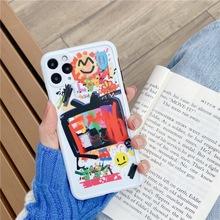 新款潮牌笑脸适用于苹果手机壳11ProMax/X/XR涂鸦印花TPU全包软壳