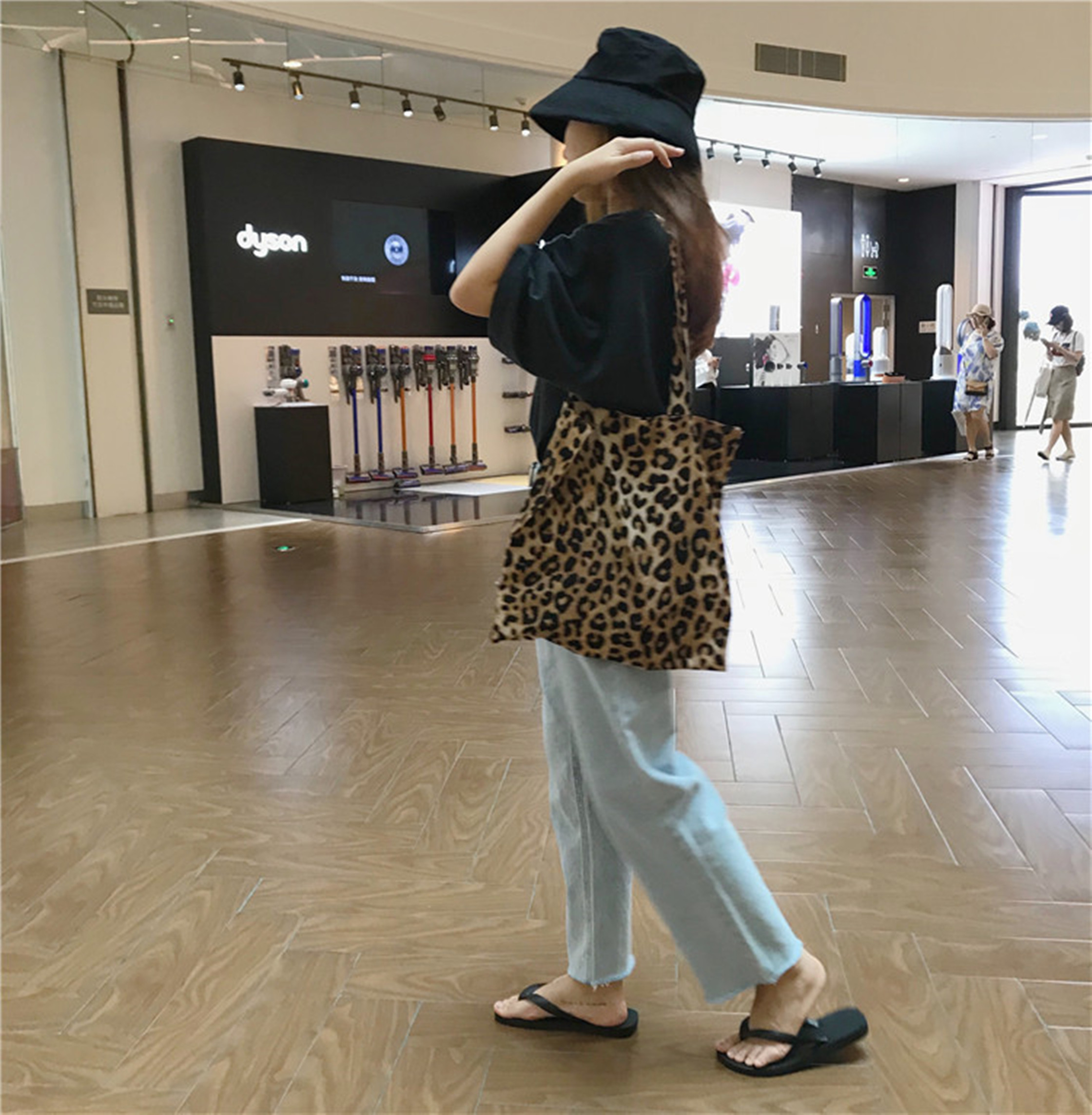 [ELINASEA]小海自制 复古时髦韩风豹纹印花单肩帆布包袋购物袋X