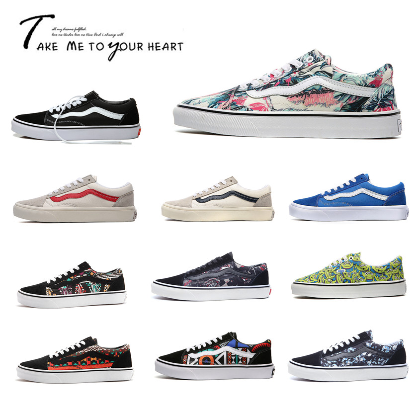 Vance genuine mens shoes low top canvas shoes classic skateboard shoes print graffiti womens shoes sports leisure student shoes