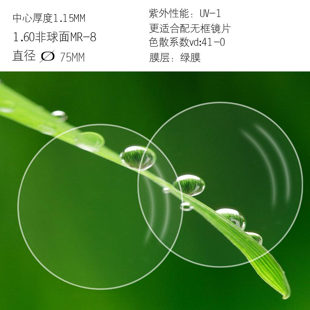 1.60非球面镜片近视眼镜片m-8配无框架加膜镜片防辐射适合无边框