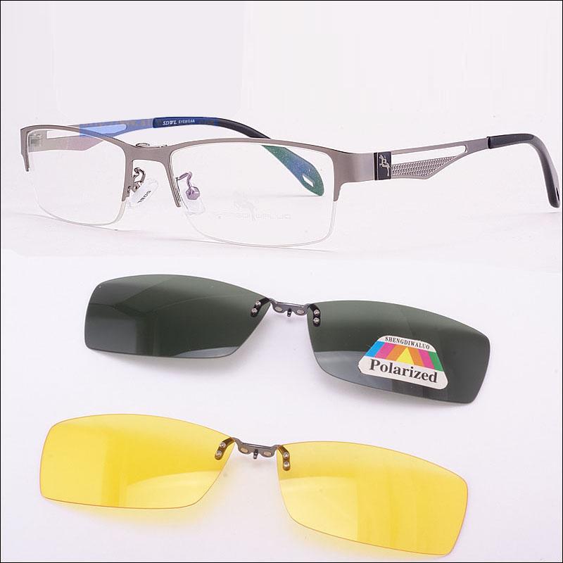 Half frame glasses frame with magnet clip myopia glasses night vision glasses Polarized Sunglasses cover glasses mens Sunglasses Brown Frame