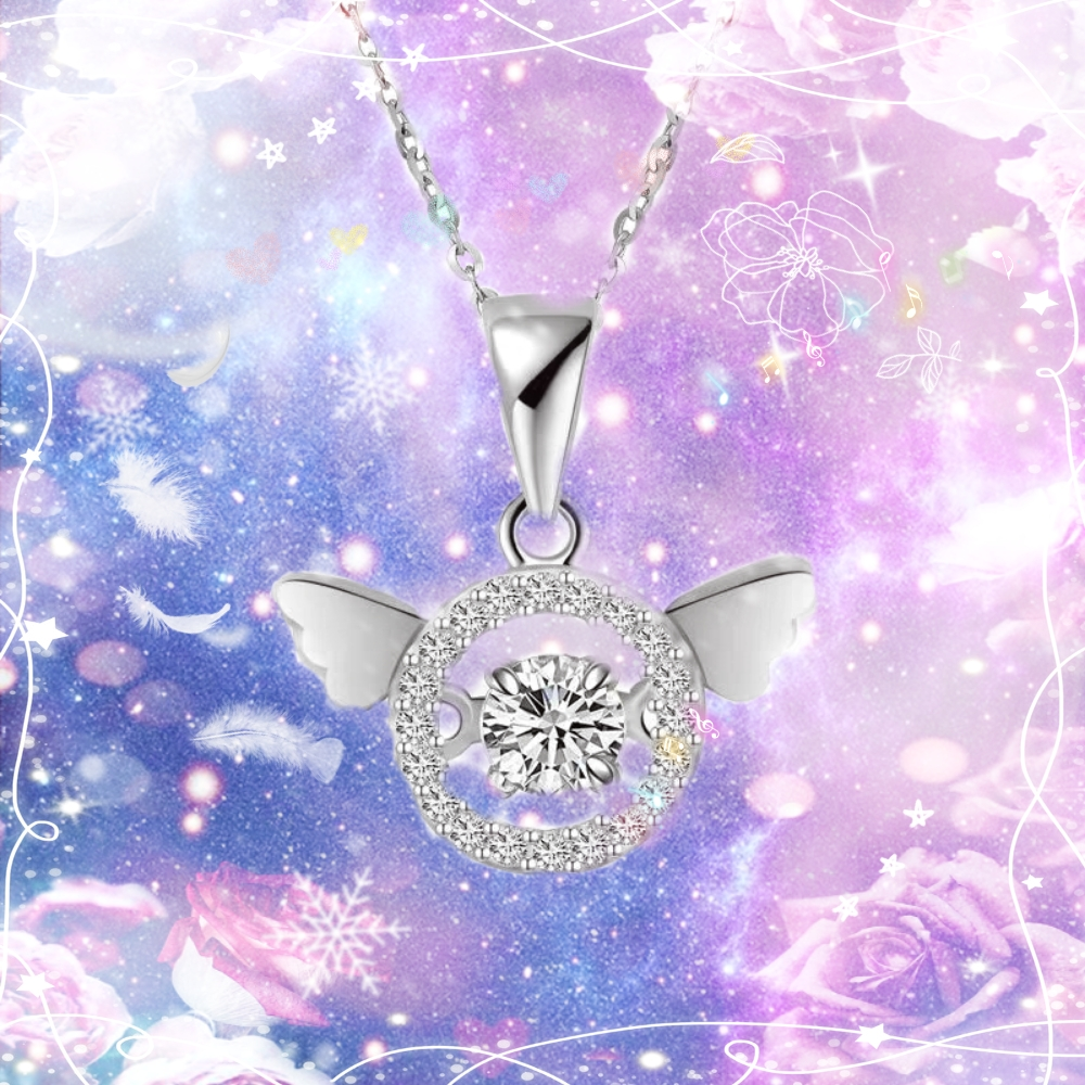 S925 Sterling Silver Necklace female Korean angel wing beating heart pendant simple fashion versatile birthday gift
