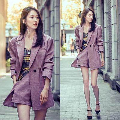 明星同款长款紫色西装短裤套装女早秋气质韩版浪漫西服短裤两件套
