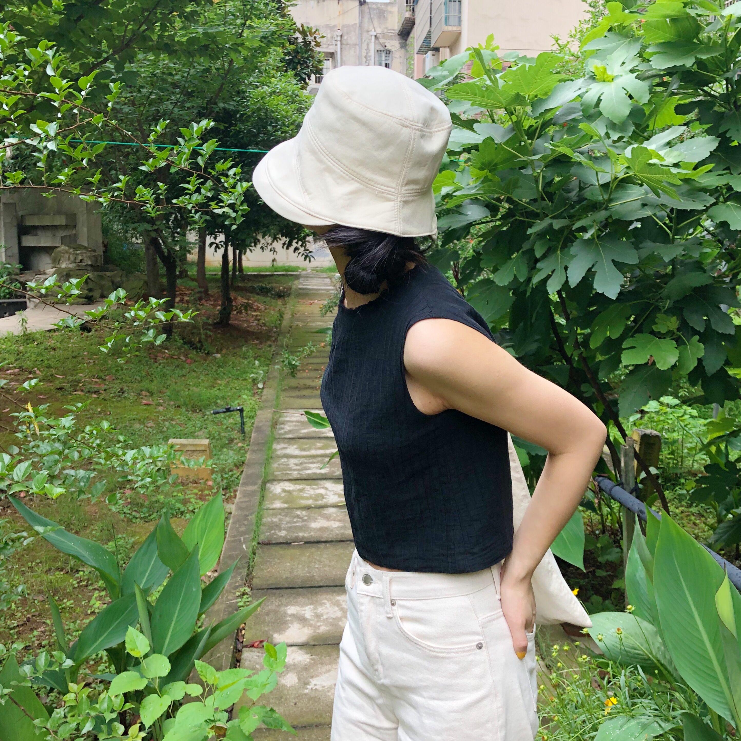 大酒窝明明同款日系棉质米色遮阳防晒渔夫帽花盆帽