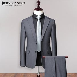 灰色西装男套装韩版修身商务上班职业正装休闲小西服外套男士上衣图片