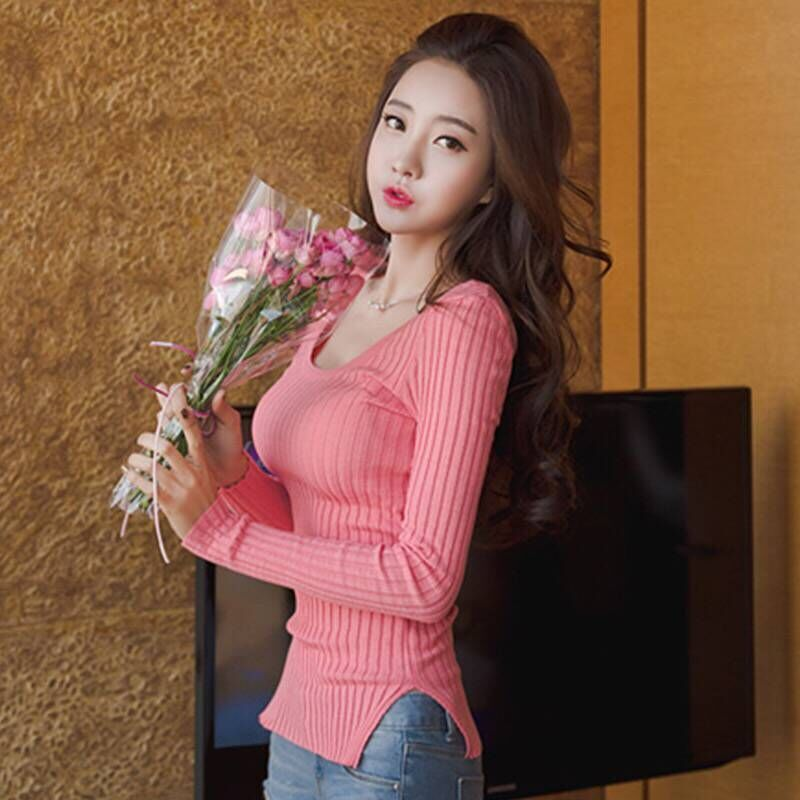 2021 new sweater for women with tight fitting and Korean two wear top