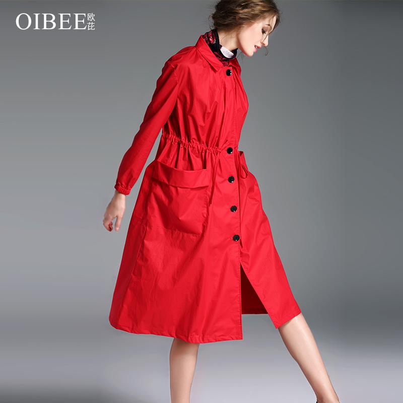2019春装新款女装长袖宽松显瘦百搭大码收腰风衣女过膝中长款