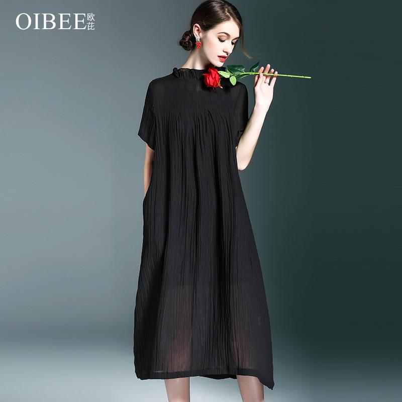 OIBEE2019春季女装新款宽松大码显瘦中长款连衣裙喇叭领口短袖裙