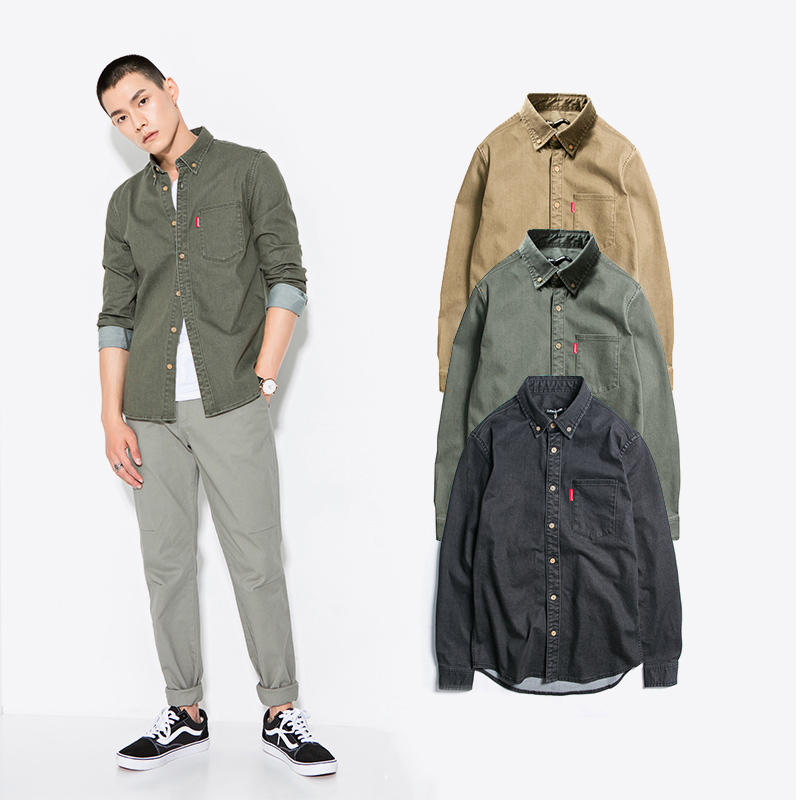 Oxford Shirt Mens College style pure cotton suede light luxury shirt coat casual versatile long sleeve work clothes keep warm