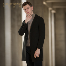 Male long double faced wool coat fashion off