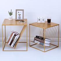 北欧风简约设计师款创意金色客厅沙发角卧室小边桌茶几样板房软装