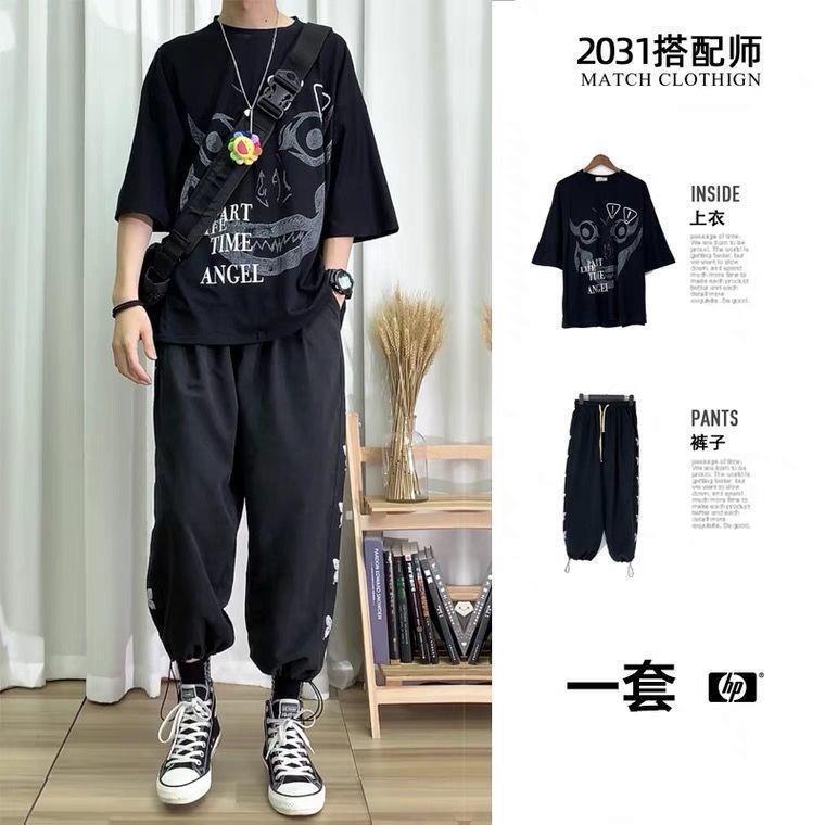 两件套装2021夏季新款韩版宽松潮流帅气学生男装搭配休闲一套衣服