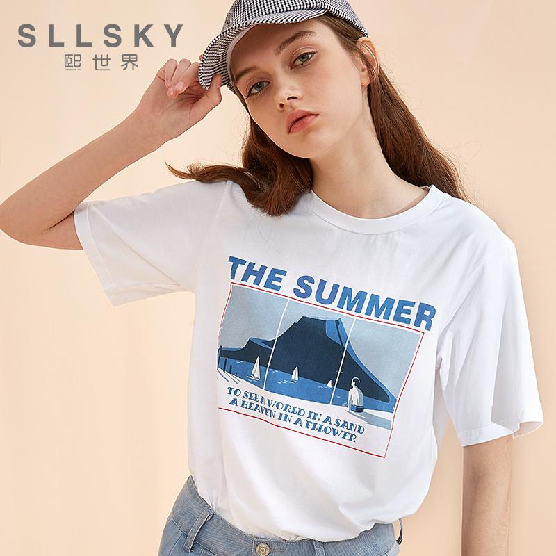熙世界 短袖2018夏季新款超火上衣女夏白色印花t恤女体恤112ST837