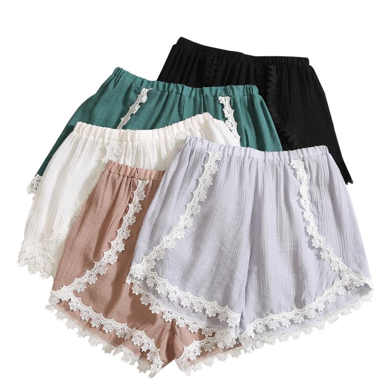 可外穿安全裤女蕾丝边纯棉麻夏季薄款打底裤防走光宽松短裤不卷边