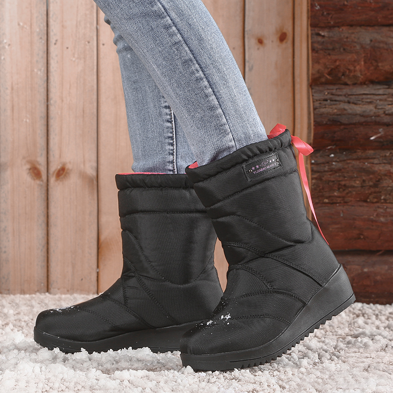 Yijiabao winter light leisure snow boots womens middle tube Plush thickened bow tie non slip slope heel cotton shoes