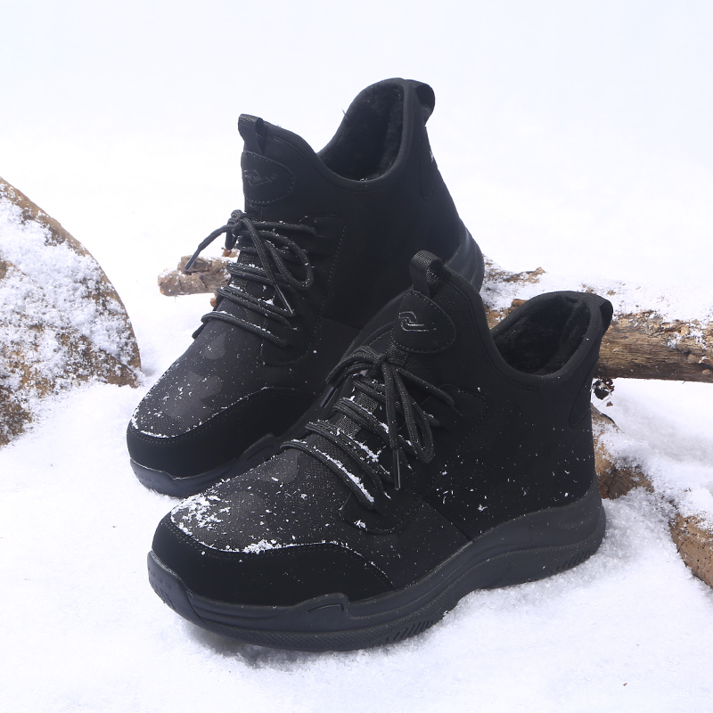 Yijiabao winter middle tube shoes cotton shoes mens Plush lace up cotton boots outdoor leisure snow boots anti slip