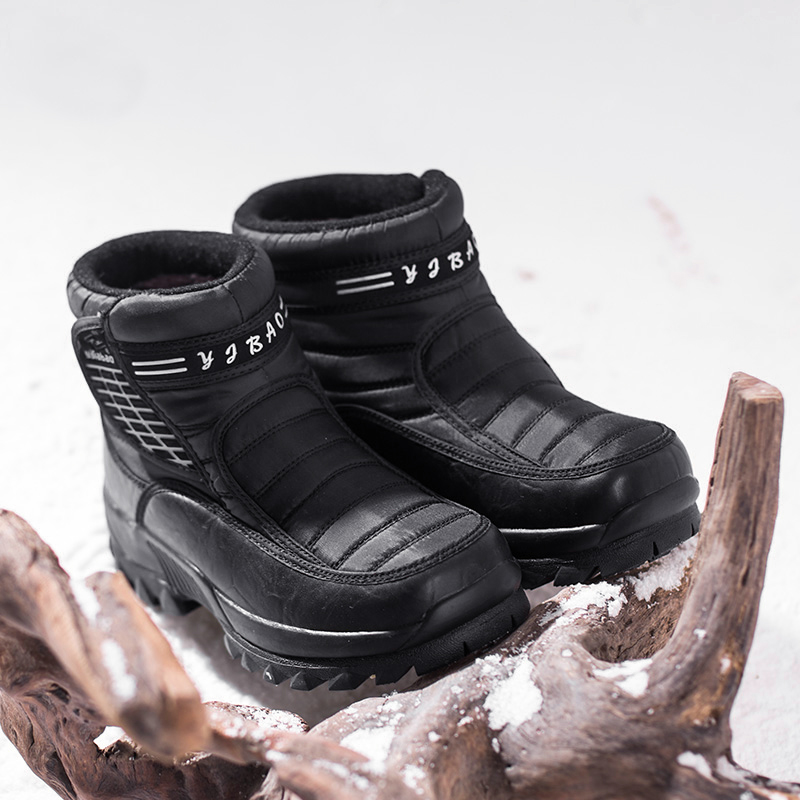 Yijiabao New Winter Snow Boots Mens thick soled anti-skid middle-aged and elderly cotton shoes high top Plush warm dad shoes