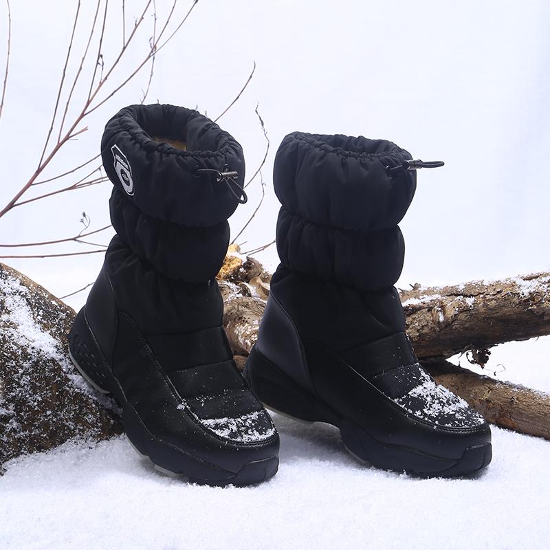 谊嘉宝冬季雪地靴女中筒厚底加绒棉鞋保暖防滑一脚蹬平底休闲靴子