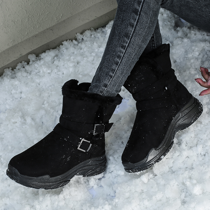 Yijiabao new winter lightweight warm thickened cotton shoes short tube snow boots womens thick soled short boots anti slip boots
