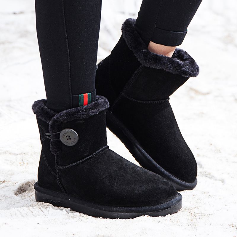 Yijiabao winter new thickened warm cotton shoes anti slip comfortable flat bottom northeast snow boots womens classic lightweight