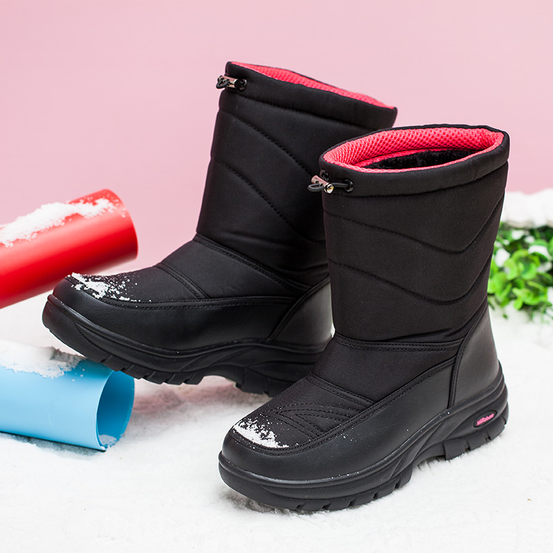Yijiabao medium tube snow boots womens one pedal plush cotton shoes womens warm winter comfortable womens boots flat bottom anti-skid