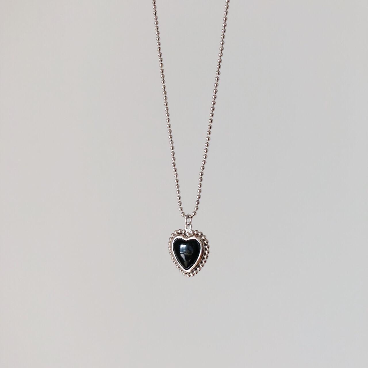 复古925纯银黑玛瑙爱心项链女时尚气质少女心圆珠链转运珠锁骨链