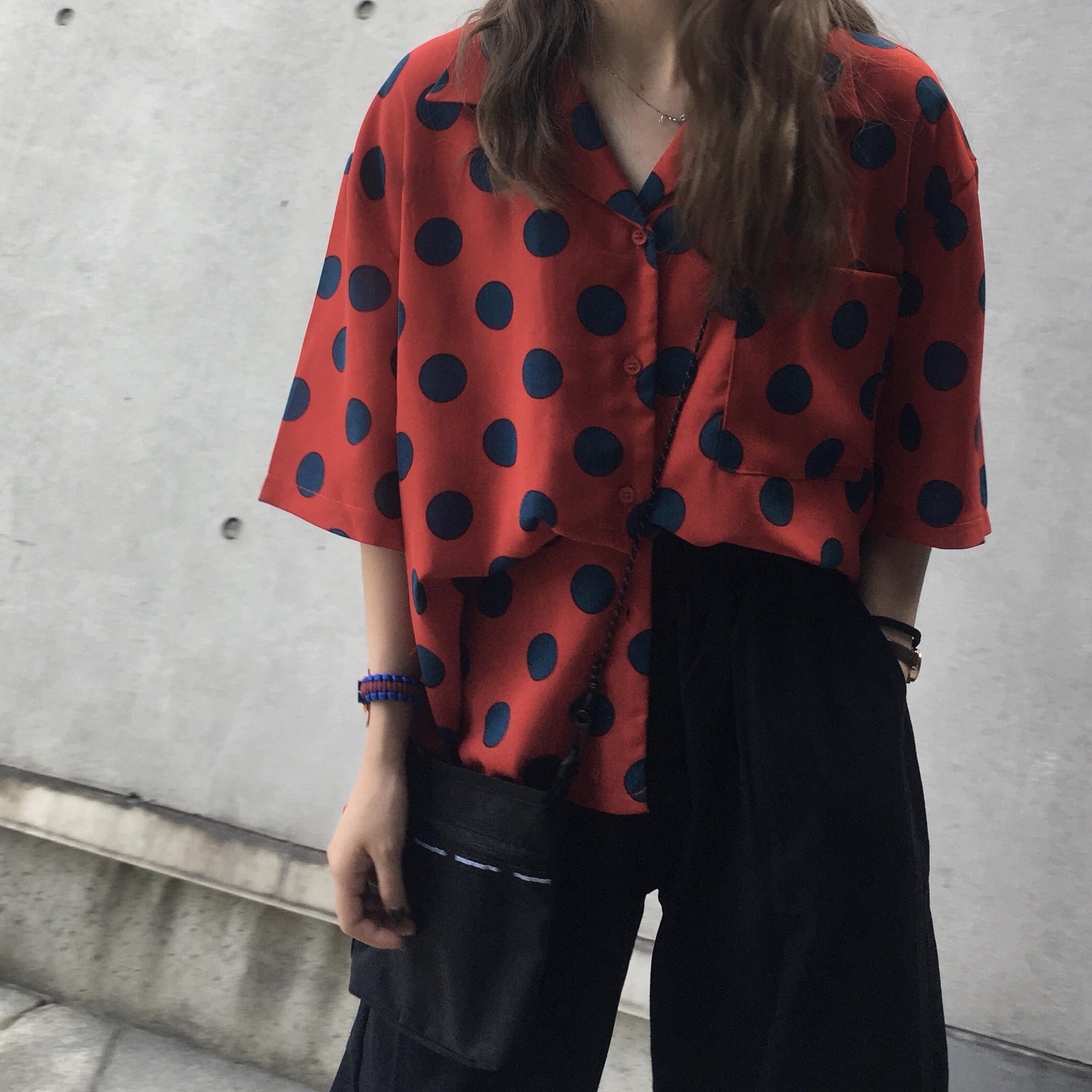 2018新款夏季圆点衬衫女复古西装领翻领短袖上衣大码胖MM200斤